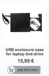 USB enclosure for laptop DVD or BR drive