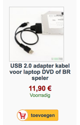 USB2.0 kabel adapter voor laptop DVD of BR speler