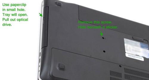 How to remove optical drive (DVD or Blu-ray) from the Asus N56 N56VM N56V  N56VZ | HDDCaddy.eu - HDD Caddy for 2nd HDD/SSD in laptop or PC.